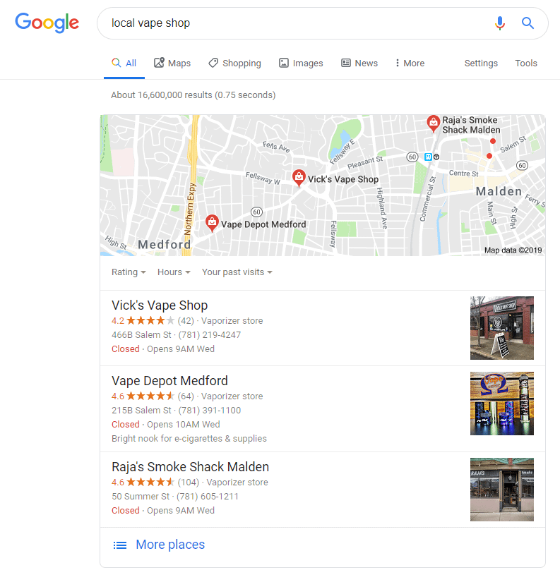 google organic local search results