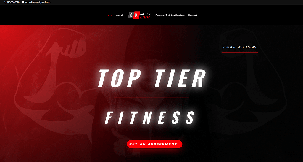web development of top tier fitness and web design of homepage