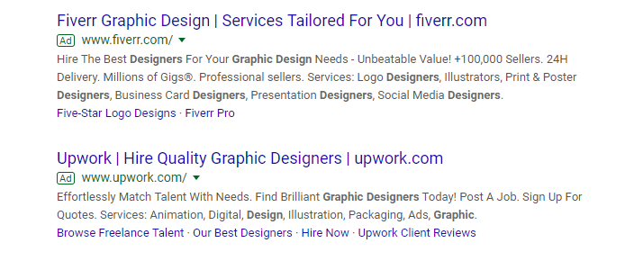 google Ads results